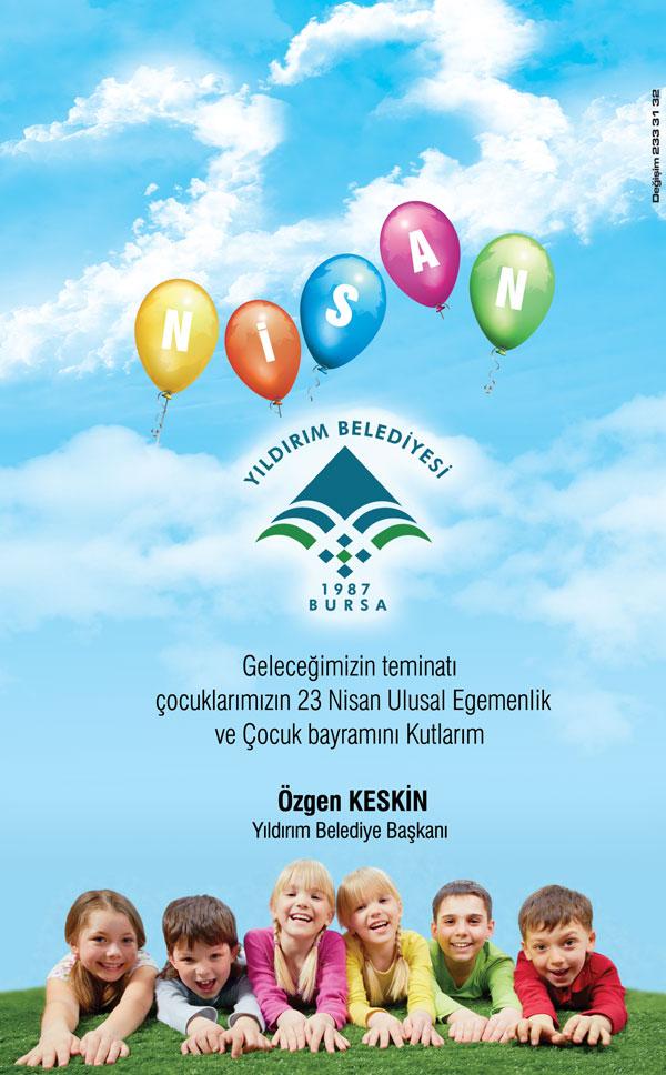 Yıldırım Belediyesi 23 nisan Gazete ilanı